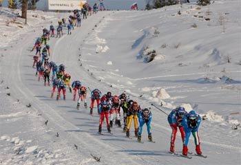 Золото, серебро и бронзу в лыжной гонке на 50 км завоевали российские спортсмены