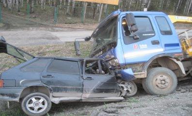 Под Первоуральском столкнулись ВАЗ-2114 и грузовик, водитель легковушки погиб на месте