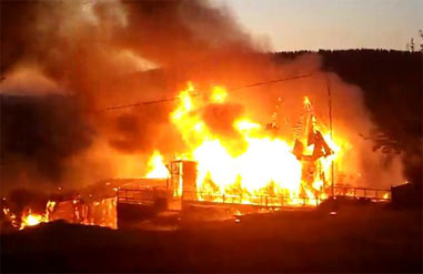Во время пожара в поселке Кирпичный погиб 55-летний мужчина